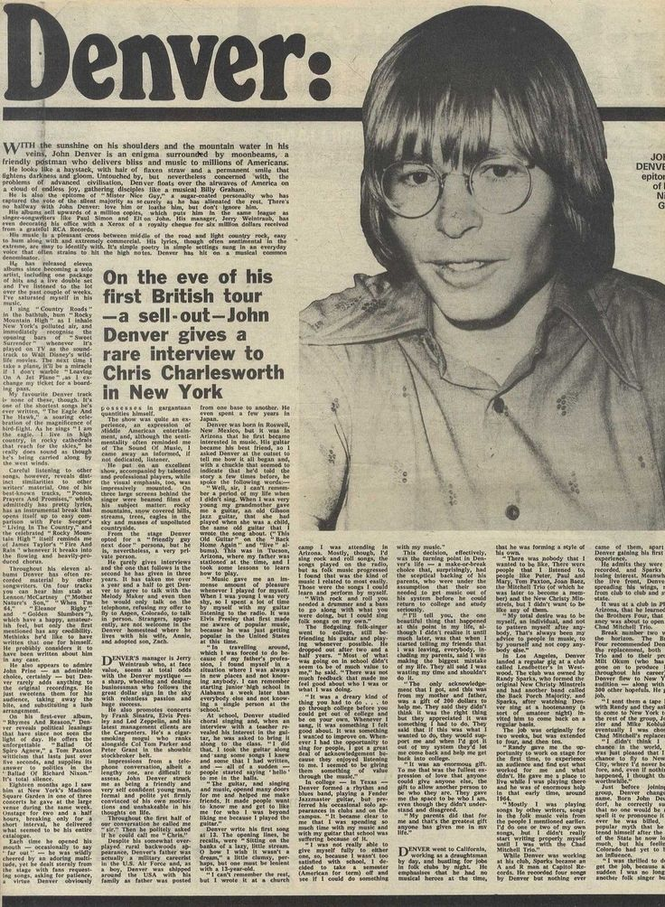 NEWSPAPER CLIPPING : JOHN DENVER, WHY I MADE IT in Collectables, Advertising, Other Advertising | eBay