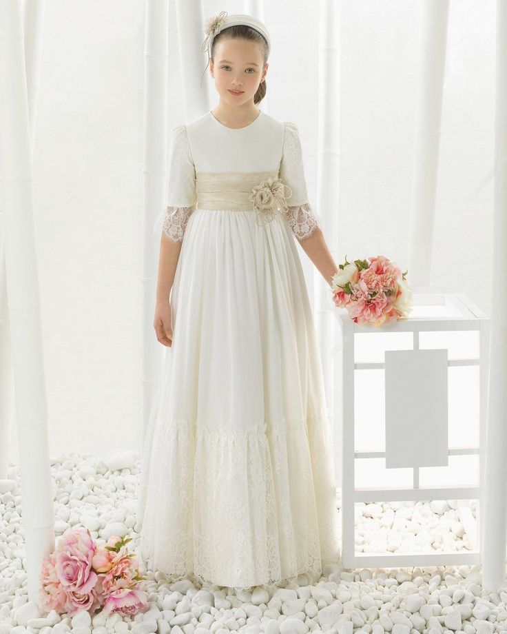 3/4 Sleeves A-Line Satin Bodice Lace Trimmed Tulle First Communion Dress