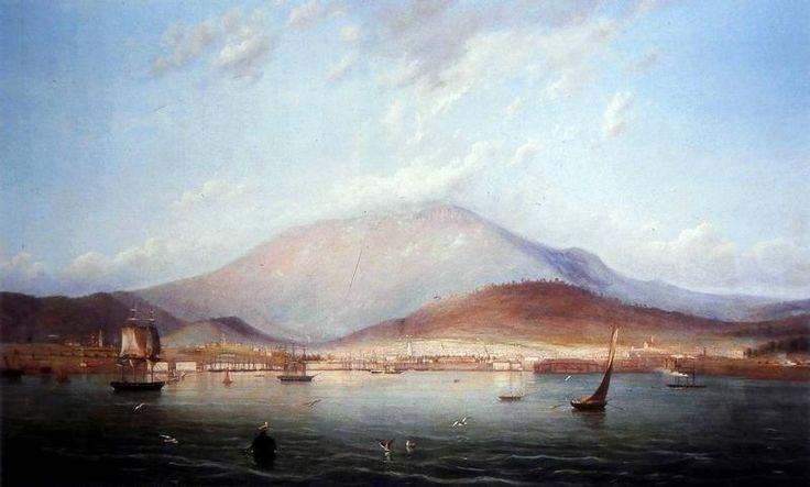 The City of Hobart Town with Mount Wellington Beyond - Bull, Knut Geelmuyden