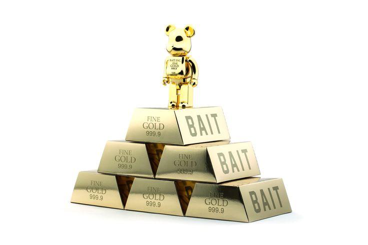 "BAIT x Medicom Toy BE@RBRICK ""GOLD BAR"" 100% and 400%"