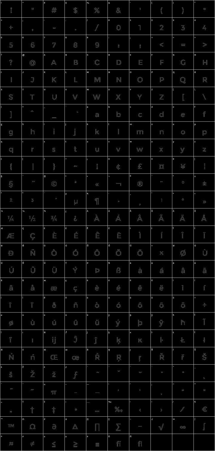 Download Montserrat Glyph Map | Font squirrel, Fonts, Free font