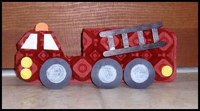Egg Carton Fire Engine Truck Craft for Kids