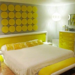 Appealing Yellow Bedroom Photograph With Women Bedroom Furniture And Fabric Headboard Bed Also Bedroom Curtains Purple : Modern Yellow Bedroom Ideas With Simple Beds Design