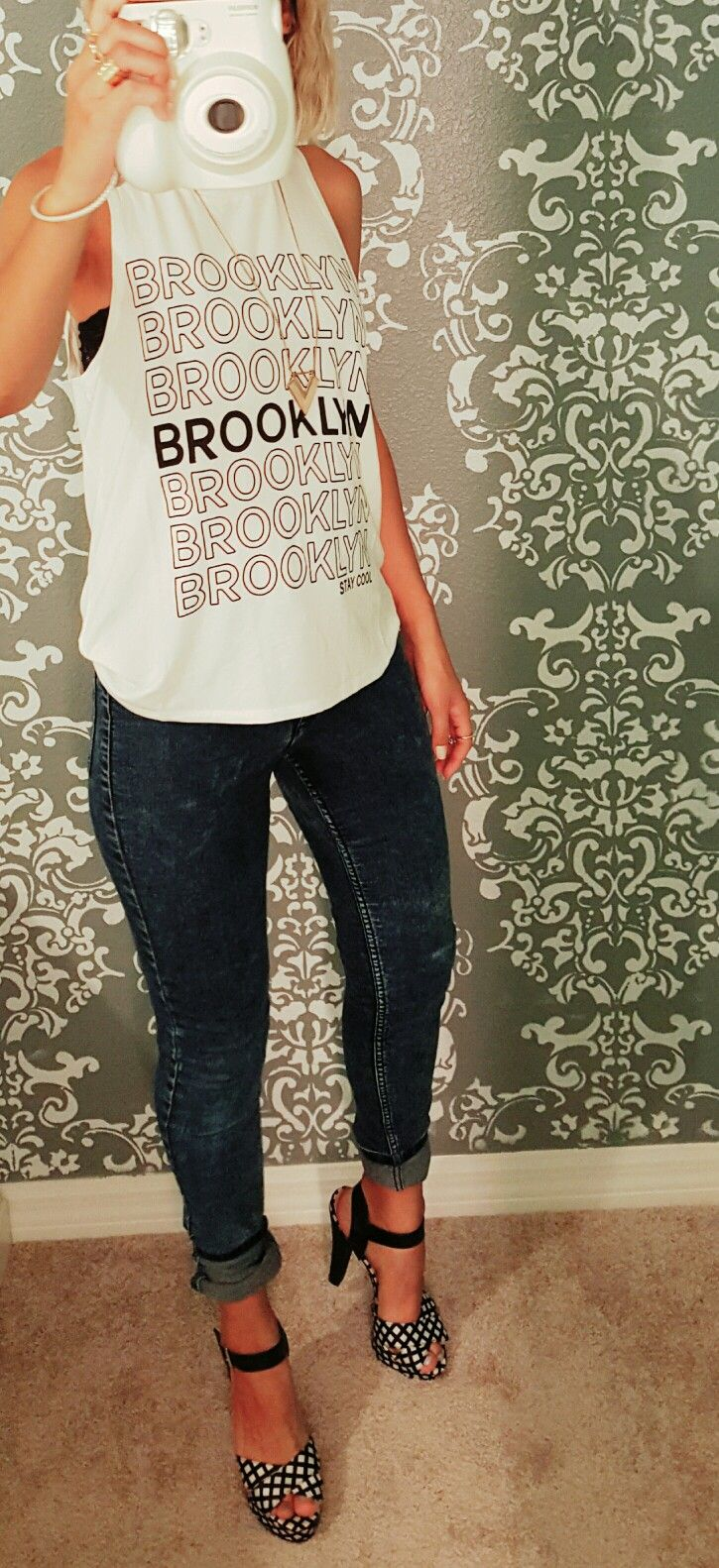 Brooklyn Shirt Black & White Heels