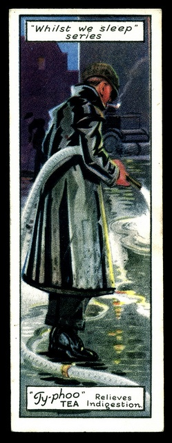 """British Trade Card - The Street Cleaner         Typhoo Tea """"Whilst We Sleep"""" (series of 25 issued in 1928) #6 The Street Cleaner"""
