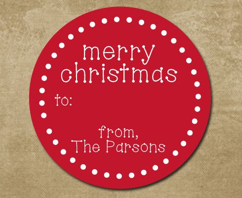 Round christmas gift labels holiday gift stickers by chevronsmiles