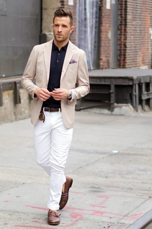 Chino blazer + knit polo + white jeans + plaid pocket square