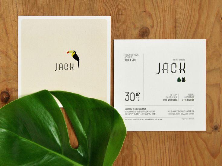 Geboortekaartje Jack - Cartette • Lotte Haesendonck • Grafisch ontwerp & geboortekaartjes op maat • Leuven • Vlaams-Brabant