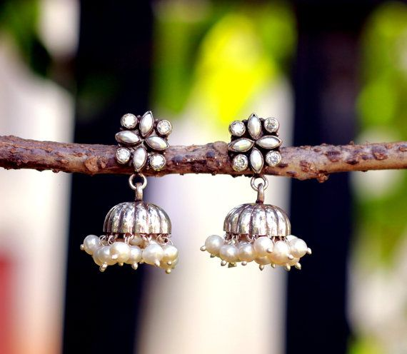 Jhumka, Pearl and Cubic Zirconia Dome Shaped Sterling Silver Oxidized Chandelier post style earrings