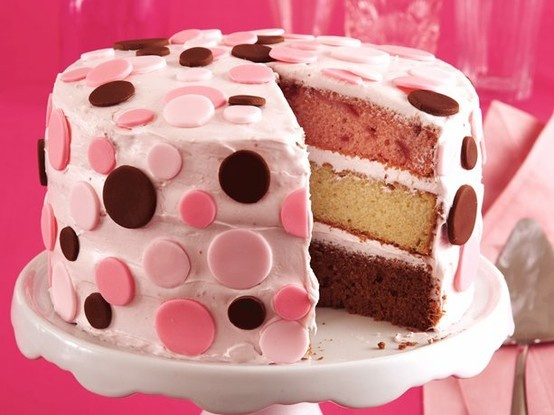 Neapolitan Confetti Cake - great birthday cake! I'll take this bday cake too..HINT Matt 30 is coming up.