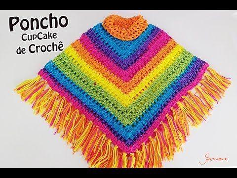 Poncho de Crochê CupCake Círculo - Professora Simone Eleotério - YouTube