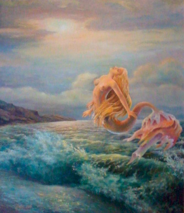 "Василий Россин (Vasily Rossin), РусалкаMermaid2012 г.Холст, масло"" Canvas, oil""55 х 63"