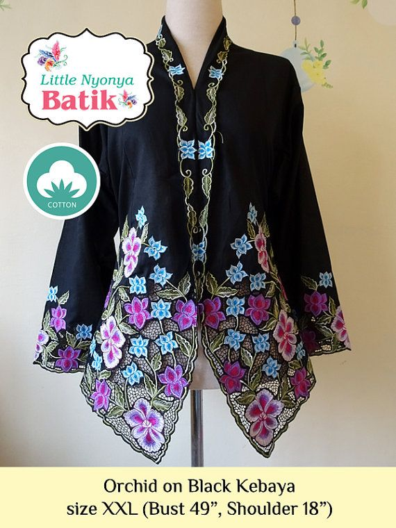 size XXL: Plus Size Peranakan Kebaya Basic Quality Cotton. motif orchid on black