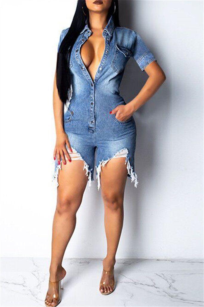 Women's Clothing Blue Plus Size Jean Jumpsuit Ladies Club Wear Rompers Button Denim Jumpsuits Short Sleeve Women Off The Shoulder Romper Bodysuit