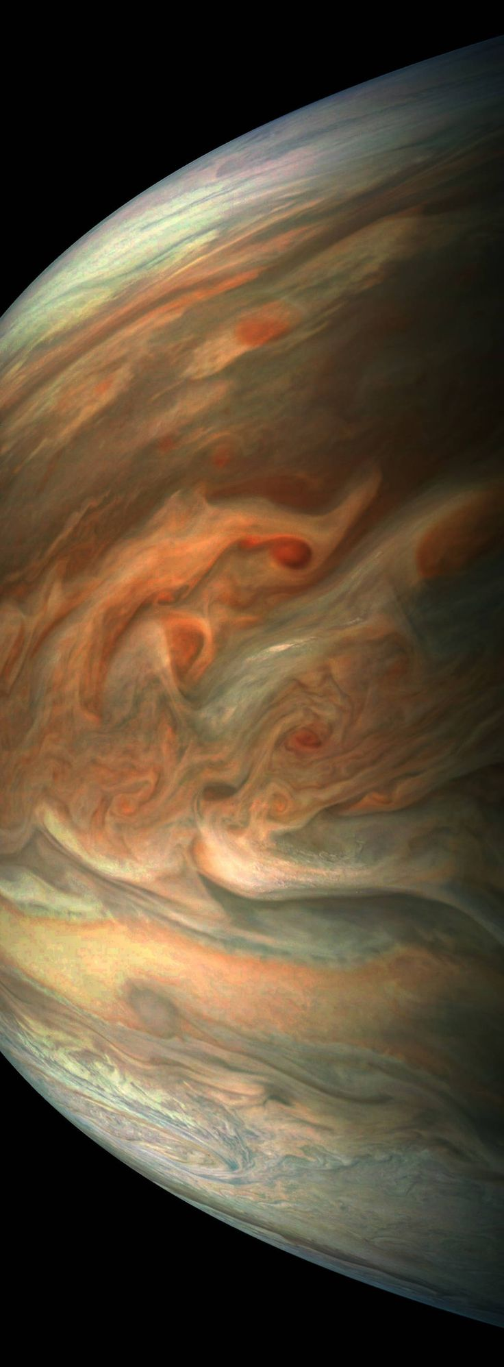 This striking image of Jupiter was captured by NASA's Juno spacecraft as it performed its eighth flyby of the gas giant planet.    The image was taken on Sept. 1, 2017 at 2:58 p.m. PDT (5:58 p.m. EDT). At the time the image was taken, the spacecraft was 4,707 miles (7,576 kilometers) from the tops of the clouds of the planet at a latitude of about -17.4 degrees.