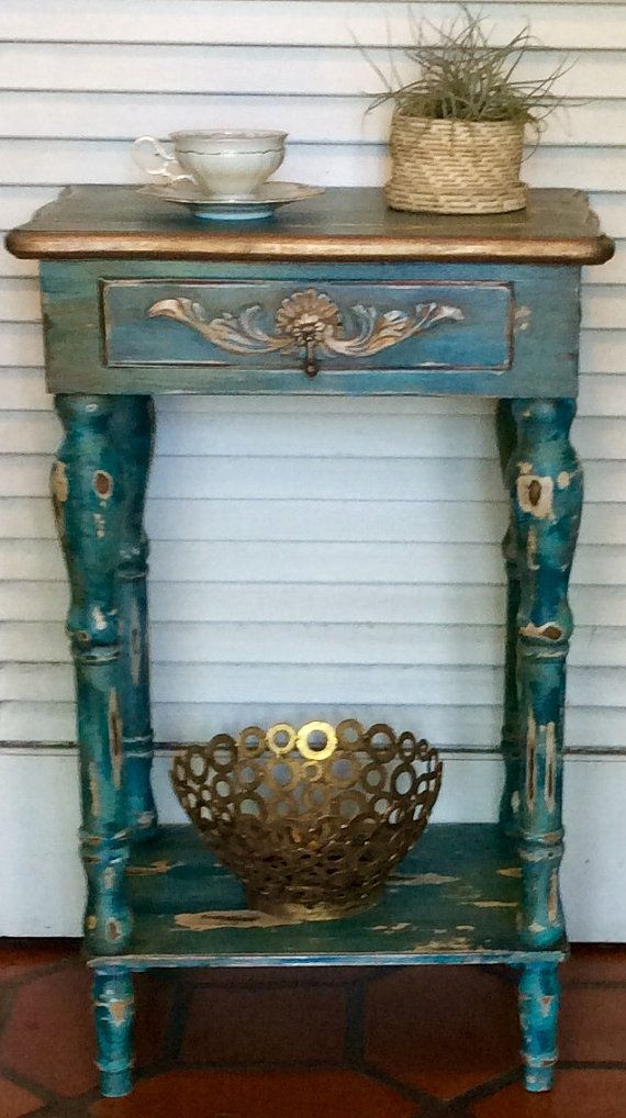 Blue Shabby Chic Nightstand/End Table by RevisitedConcepts on Etsy