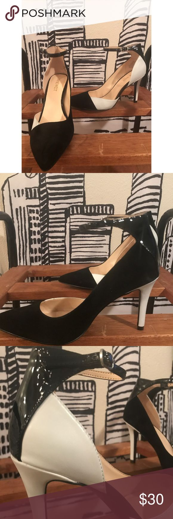 🙌🏾Brand New Two Toned Nine West Heels #0151NW Brand new two toned black and white  heels with ankle strap. I call them the Creta De'Vil pumps, the heel perfect not to high and not too tall. Very comfortable for work and even for a night out on the town. #women #heels #pumps #black #white #size61/2 #chic #fashion #ninewest Nine West Shoes Heels