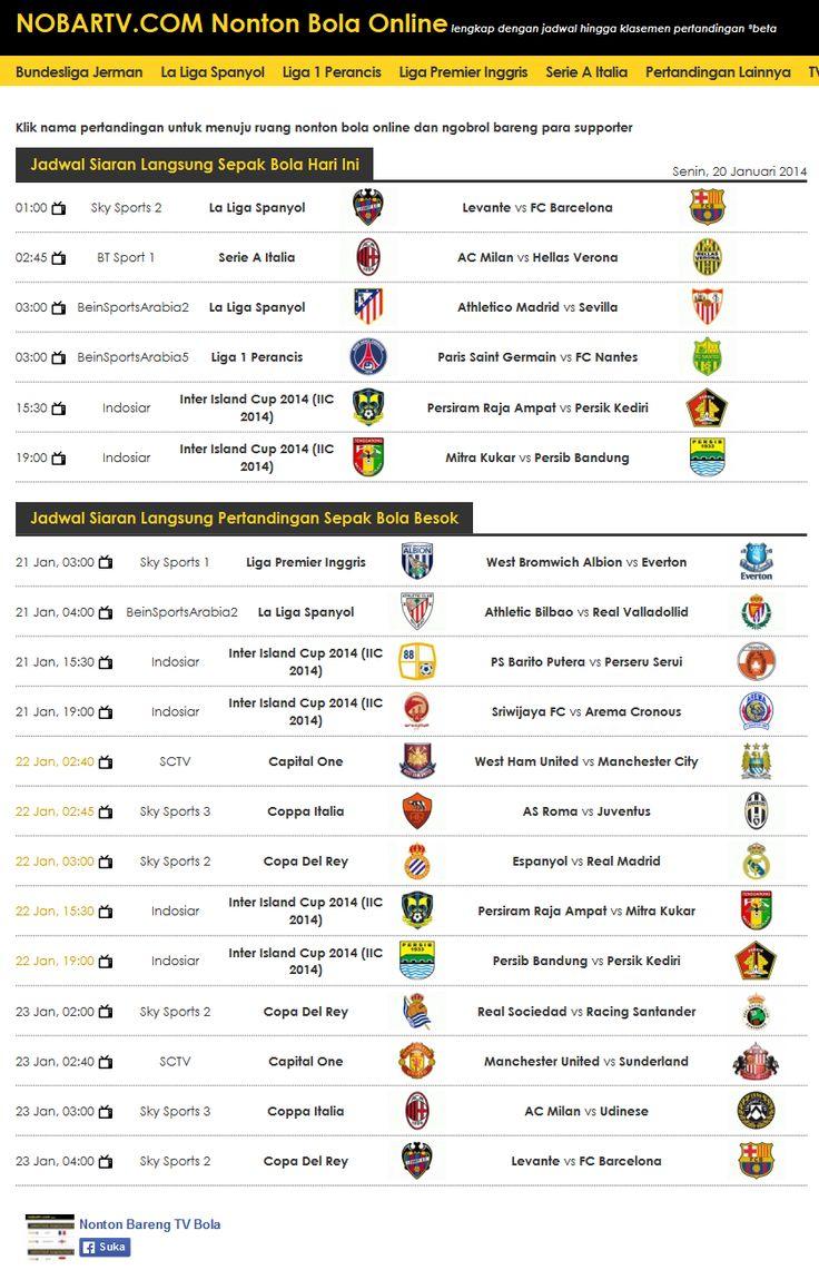 Jadwal nonton bareng sepak bola online di nobartv.com 20