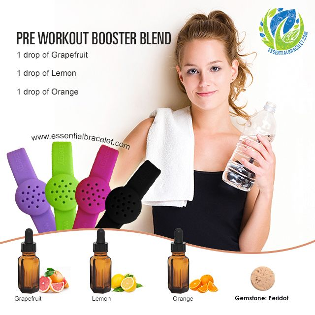 Check out this Essential Oil Pre Workout Booster Blend. Add this to your Essential Bracelet about an hour before hitting the gym!
