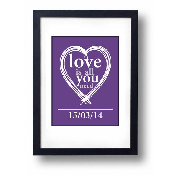 Love is all you need Personalised Wedding by mammothcreativeworks
