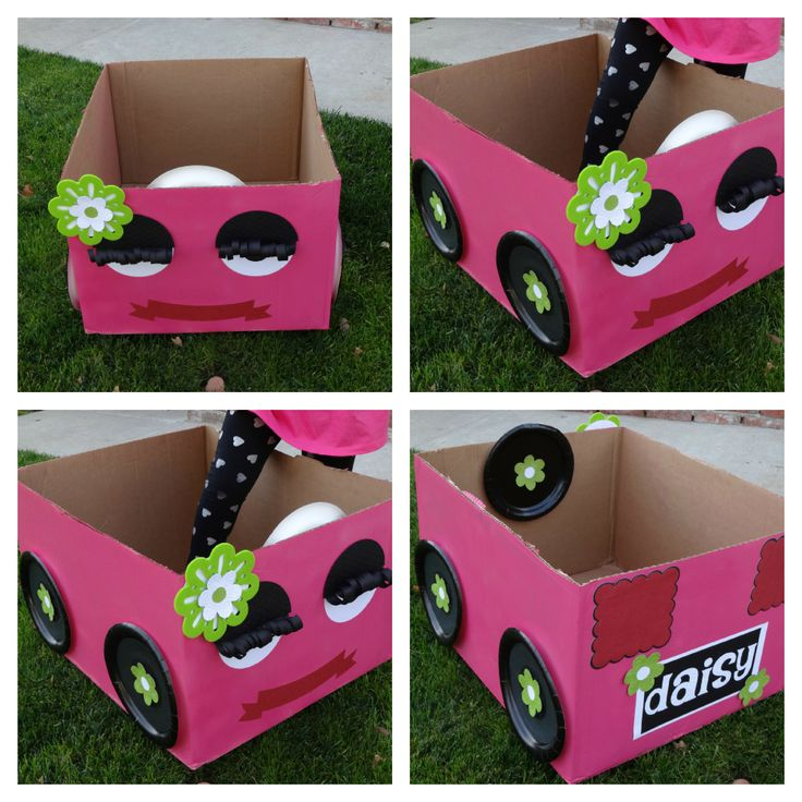 Drive In Cardboard Car!  Love the eyelashes