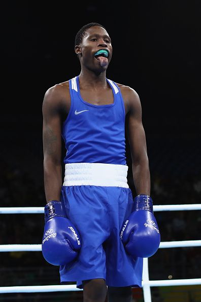 #RIO2016 Bilel Mhamdi of Tunisia pokes out his tongue in his fight against Inkululeko Suntele in their Mens Banbtamweight bout on Day 6 of the 2016 Rio...