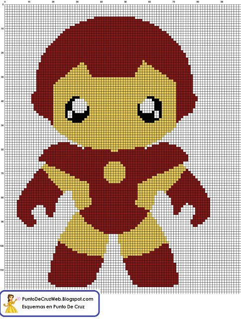 Super Heroe  Bebe IronMan, en Punto De Cruz. www.puntodecruzweb.blogspot.com