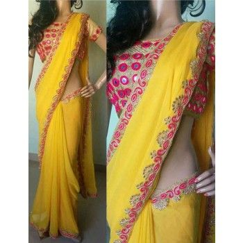 Georgette Lace Work Yellow Plain Saree - 3088