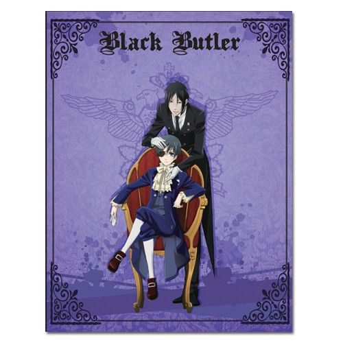 This very regal looking purple throw blanket features an illustration of the master of the Phantomhive household, Ciel, seated on a chair with his butler Sebastian Michaelis behind him plus the Black Butler logo at the top and elegant photo-style black decorations in the corners.  #homekitchen