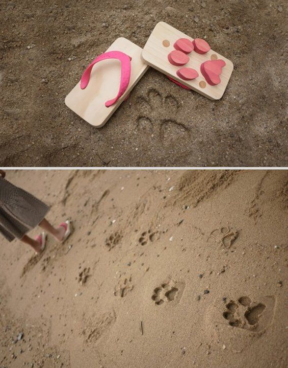 """The cat did it!  """"ashiato"""" is kids sandals with animal foot print"""