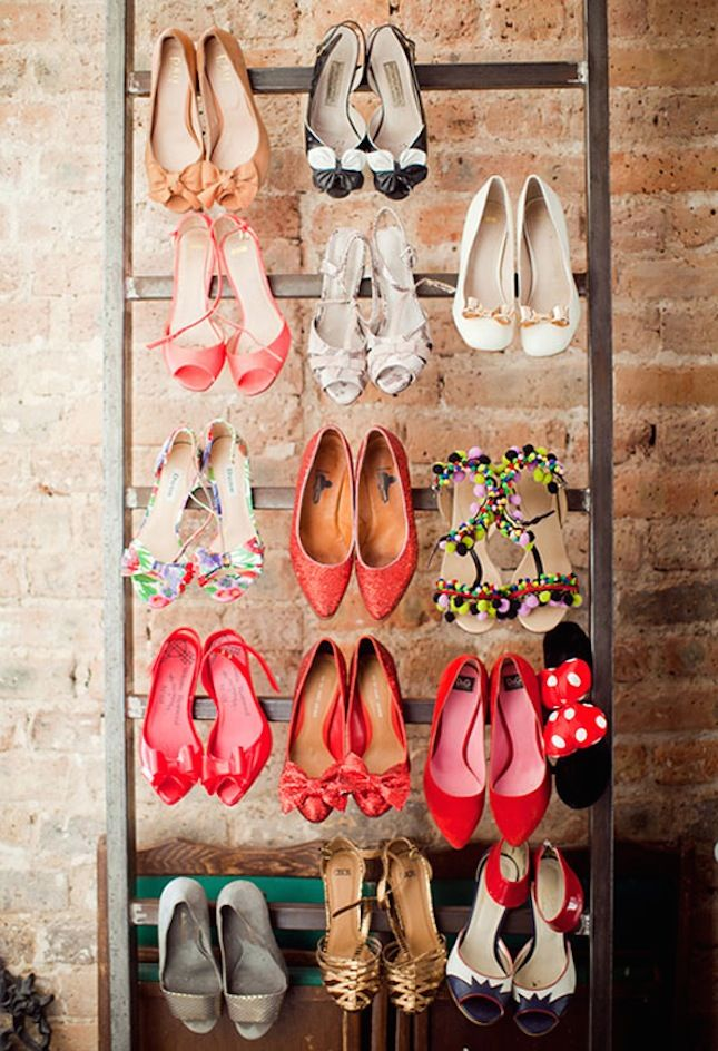 Shoes come in all different shapes, sizes and colors. Keeping them organized can be a hassle. Stop piling them up in a corner and start storing your shoes in a unique and functional way. Start by making  this stylish DIY storage system resembling a ladder.