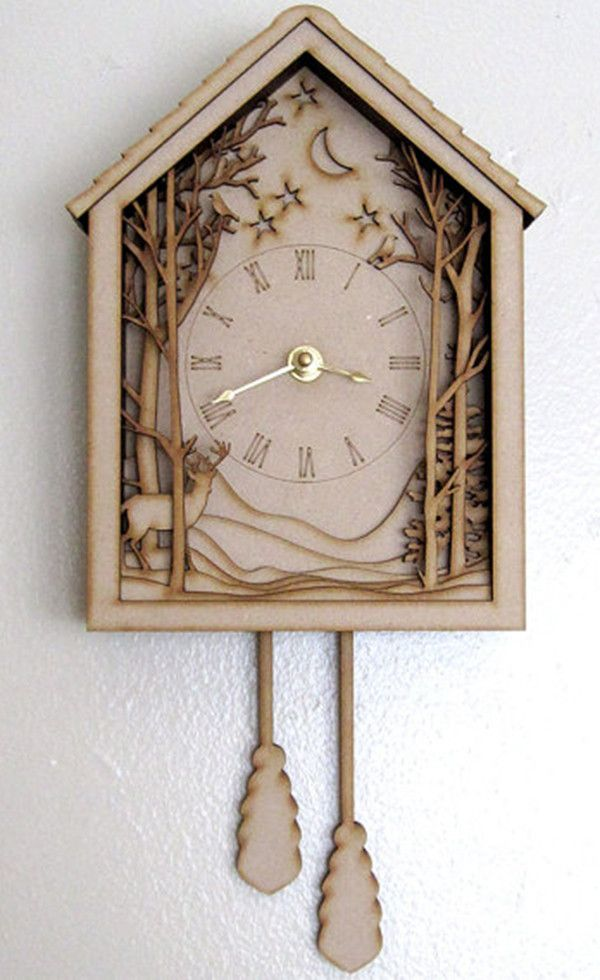 Cuckoo Clock Winter Midnight Forest Diorama Laser
