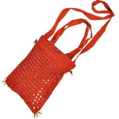 Handmade Mirror Work Smart Red Shoulder Bag-108 #Handmade Mirror Work