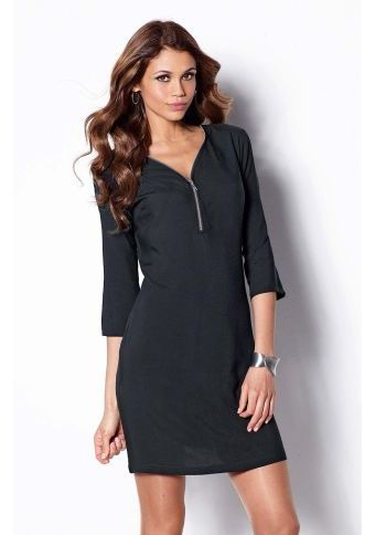 Geometrické šaty s 3/4 rukávmi #littleblackdress #modino_sk #modino_style #dress #style #fashion #black #casual #look