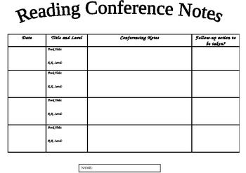 reading conference notes template reading reading workshop