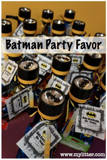 Batman party favors - torches with the logo so you can signal batman just like gotham city does!!