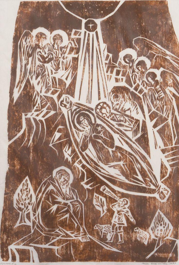Ina Colliander: Turvassa, 1973, puupiirros, 55x39 cm, e'pruve d'a - Hagelstam 5/2016