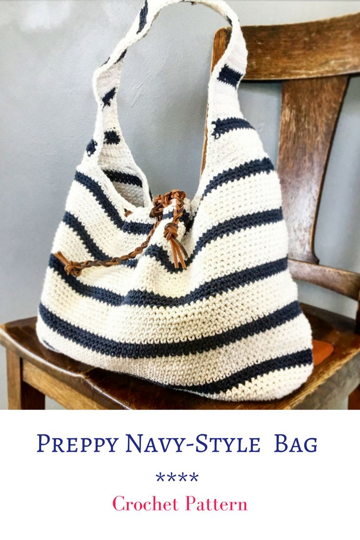 Make your own Preppy Navy-Style Bag #crochet #crochetpattern #preppy #handbag #ad #pattern #navystyle #chic #diy