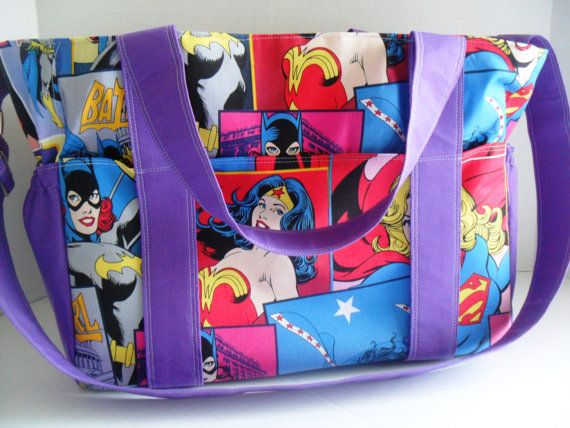 Extra Large Diaper bag Made of DC Comics / Super Hero by fromnancy