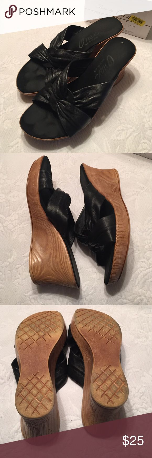 ONEX Shoes Black wedges.   Good condition Onex Shoes Wedges