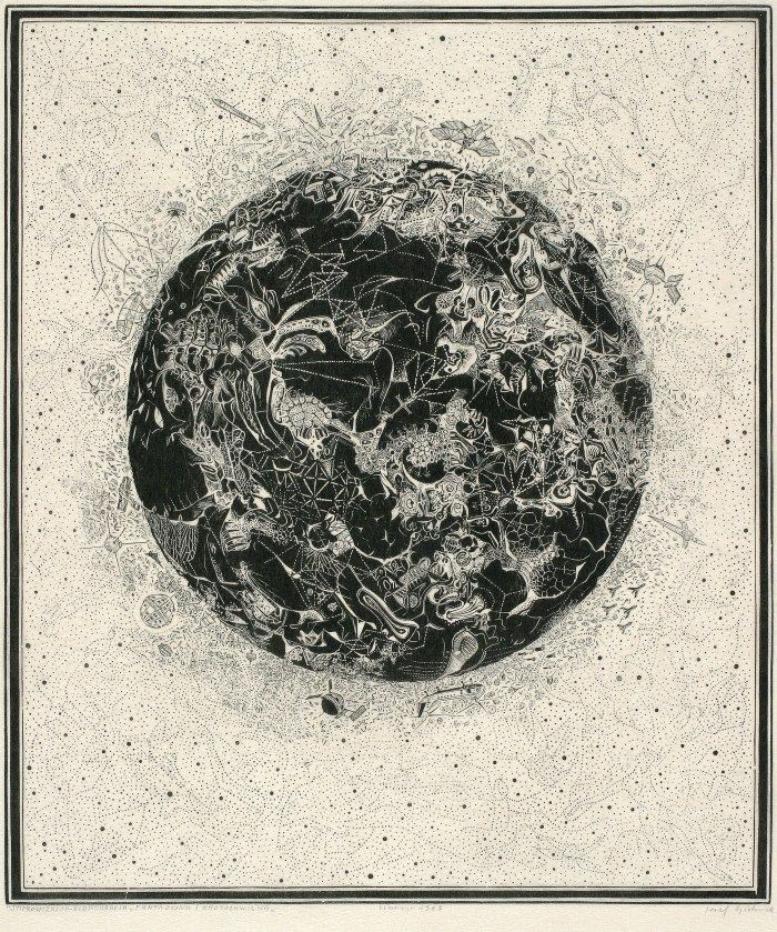 Józef Gielniak(Polish, 1932-1972)Improvisation  1963 linocut, tissue  via