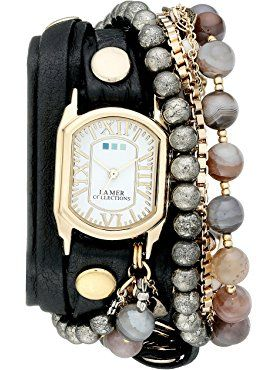 La Mer Collections Women's LMMULTI2040 Black Positano Italian Stones Analog Display Quartz Black Watch ❤ La Mer Collections