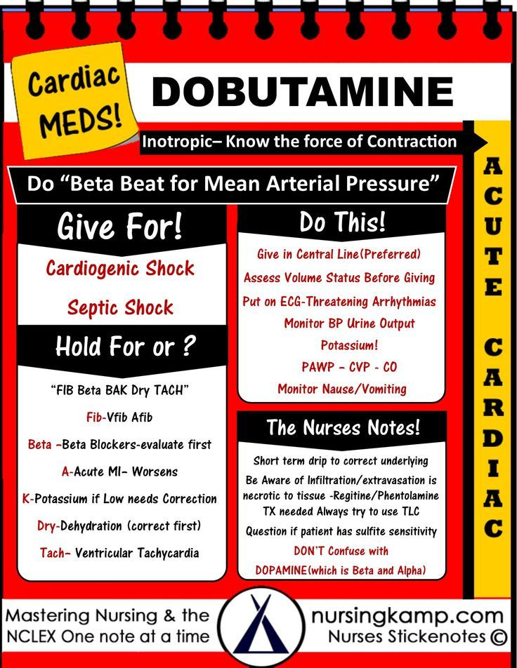 Dobutamine -Given For Cardiogenic Shock and Septic Shock After Fluid Satus is evaluated- Acute Cardiac Cardiac Medications Dopamine Adenosine Atropine Amiodarone NCLEX BUN Creatinine Kidney Disease Acute Renal Failue Labs Potassium Hyperkalemia Hypokalemia Hyponatremia Sodium Lab Value Hyponatremia Mnemonic Nursing Student normals and abnormal Na K Cr Hypomagnesemia BUN Creatinine Addisons Dehydration Study Sheets for Nurses NCLEX Tips Nursing Notes Cheats Nursing KAMP