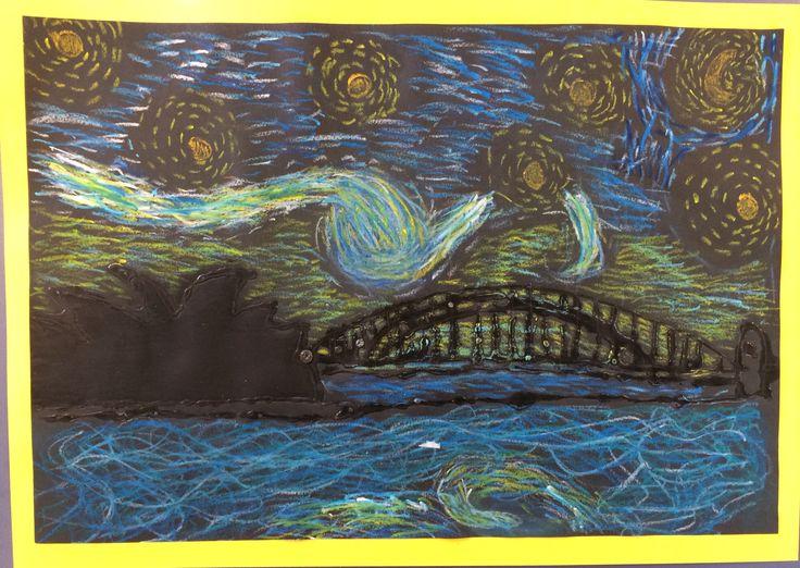 Starry Sydney Night- Sydney skyline in Van Gogh style- by year 3/4