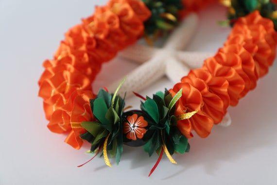 Hawaiian Ribbon Lei Plumeria Orange with Painted White Hibiscus Kukui Nut