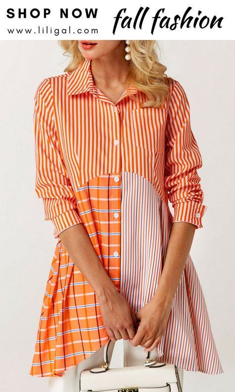 USD32.06 Asymmetric Hem Button Front Printed Blouse #liligal #blouse ...