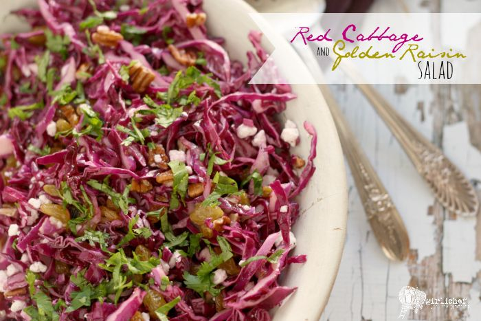 Red Cabbage and Golden Raisin Salad: Very tasty! I eyeballed proportions and made a few mods: blue cheese for goat cheese; walnuts for pecans; no cilantro. Would def. make again.