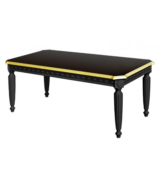 Black and gold coffee table. Made in Italy. www.italian-style.co.uk . coffee table, black coffee table, black furniture, classic coffee table, coffee table with gold details