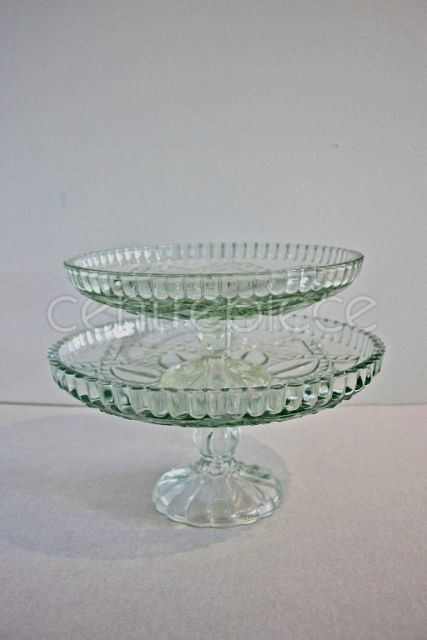 Cake Stand Cut Glass Large
