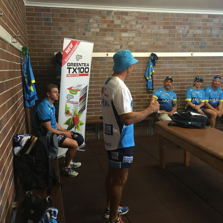 Titans player training day with bodyscience team. Pre training presso by Neil Henry.